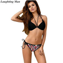 a1bc08ae02 Laughting Man 2019 Sexy Bandage Bikinis Solid Maillot Swimwear Women  Swimsuit Beach Bikini Set Biquini Bathing Suit Monokini