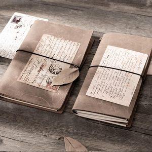 Image 2 - Блокнот для путешествий из воловьей кожи tn, серый блокнот из натуральной кожи, винтажный планер, персональный дневник в горошек, Обложка для книг