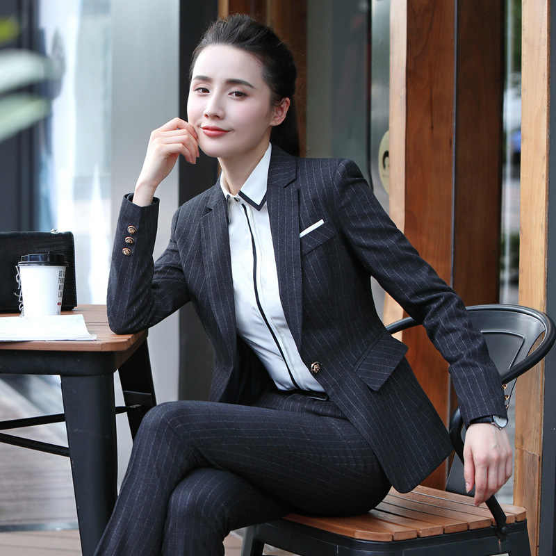 lovely design arrives great quality Elegant women suits fashion stripe Slim large size working clothes suit  female Office ladies Business With blazer&Pants