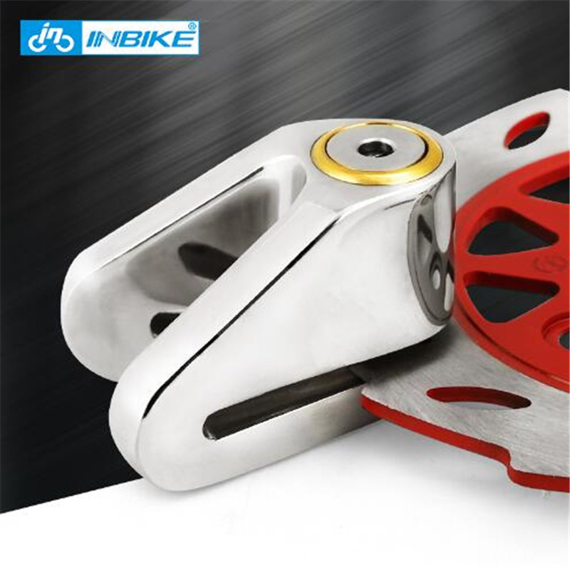 INBIKE Anti-theft Motorcycle Wheel Disc Brake Lock Security Disc Lock Bicycle Bike Lock with 3 Keys and Send Lock Bag Alarm Rope trelock bicycle cable lock bike steel locks biking bicycle lock anti theft security level 3 cycling locks bicycle accessories
