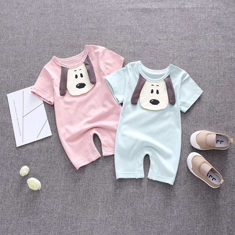 Cartoon dog Baby Rompers Baby Summer Jumpsuits Kids Short Sleeve Cotton Clothes Roupas De Bebes Infantil Baby Girl  boy Clothing baby girl rompers 100% cotton overalls autumn winter kids long sleeve jumpsuits newborn infantil boys clothes baby costume bebes
