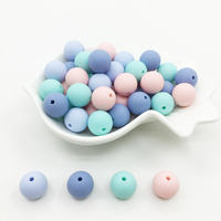 15MM Candy Silicone Beads Girls Baby Teething Beads 15mm Safe Food Grade Teething 10mm/12mm/15MM Round Silicone Beads 100pcs/lot