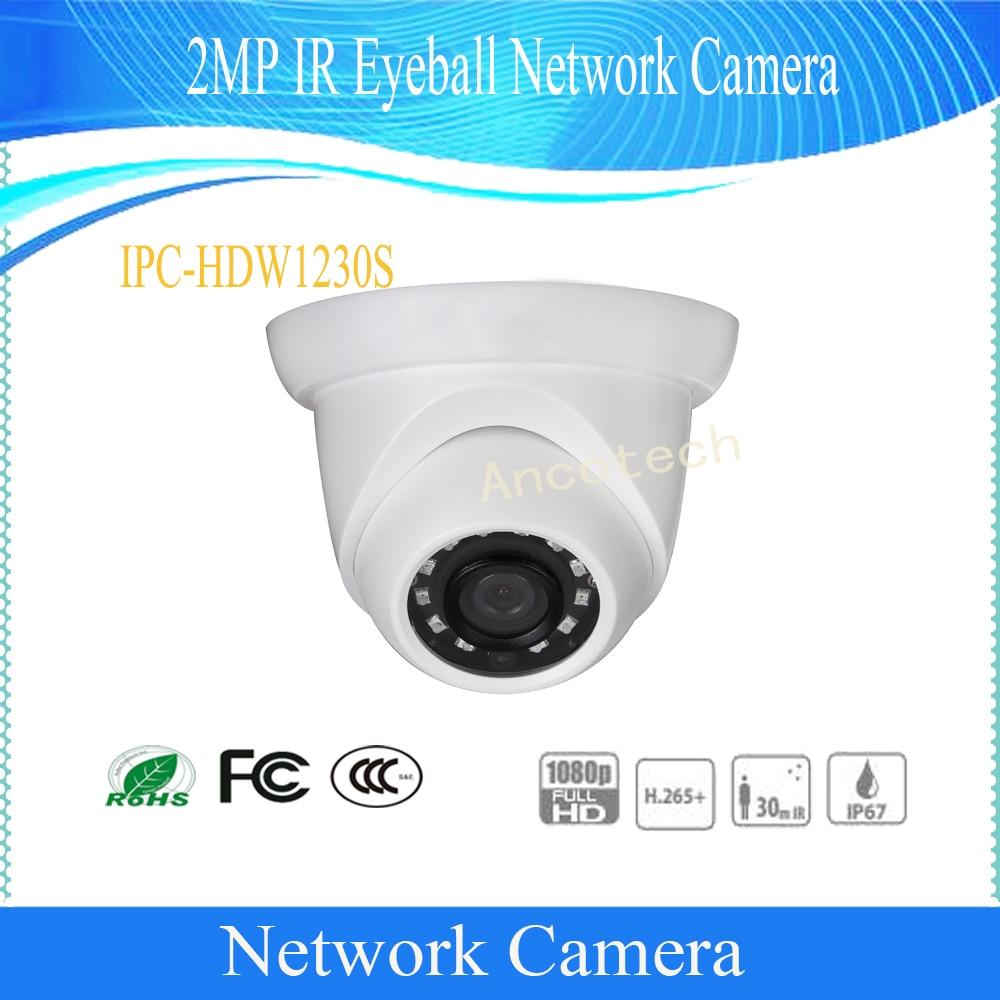 Free Shipping DAHUA Security IP Camera 2MP Day/Night 1080P IR Eyeball Network Camera With POE IP67 without Logo IPC-HDW1230S free shipping dahua ip camera cctv 6mp wdr ir eyeball network camera with poe ip67 without logo ipc hdw5631r ze