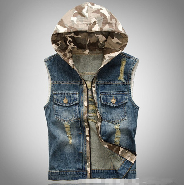 2015 Blue Jean Vest For Men Spring Autumn Mens Casual Vest Jacket With Camouflag Hood Gilet Uomo Men's Denim Vest Hooded