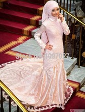 2016 Custom Made Mermaid Long Sleeve Muslim Evening Dress Lace Appliqued Hijab Evening Party Gowns Big Size MG151