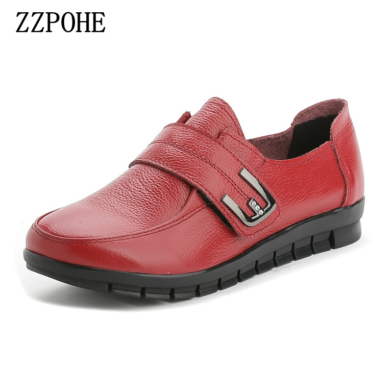 ZZPOHE spring new Mother shoes soft soles comfortable women's shoes elderly large size flat Fashion Leather black Ladies Shoes aiyuqi big size 41 42 43 women s comfortable shoes 2018 new spring leather shoes dress professional work mother shoes women