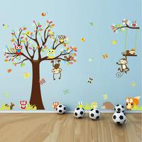 2016 Cute Monkeys Playing On Trees Wall Stickers ForKids Rooms Decorative Removable PVC Wall Decal DIY