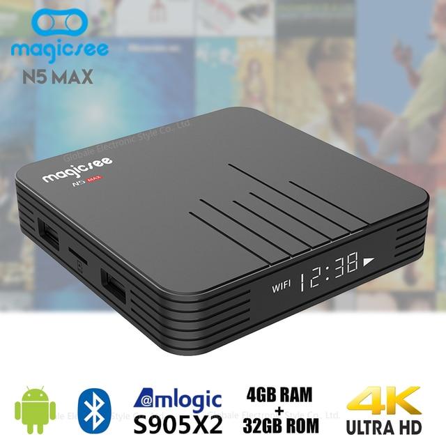 US $52 99 |Original MAGICSEE N5 Max TV Box Android 8 1 Amlogic S905X2 4GB  32GB / 64GB ROM 5GHz WiFi Bluetooth Set top Box 4K Media Player-in Set-top