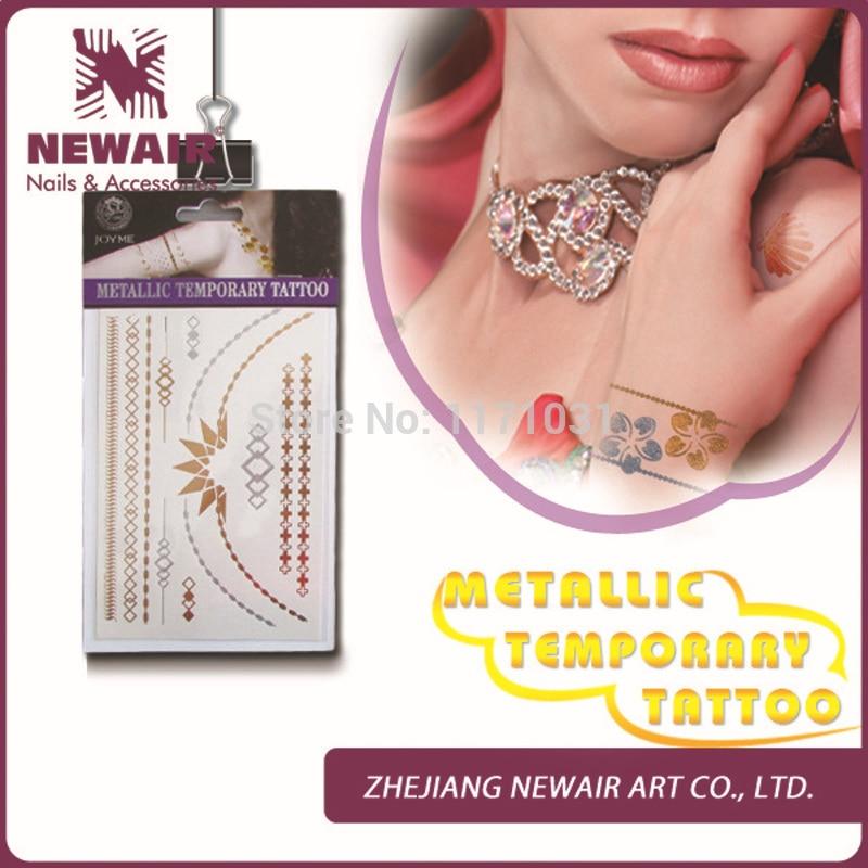 ᗖnowe Hot Flash Metallic Tymczasowe Tatuaże Tatuaż Naklejki