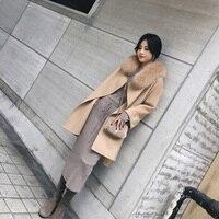 Элегантное модное длинное шерстяное пальто с воротником съемный меховой воротник шерстяное пальто и куртка однотонное Женское пальто осен