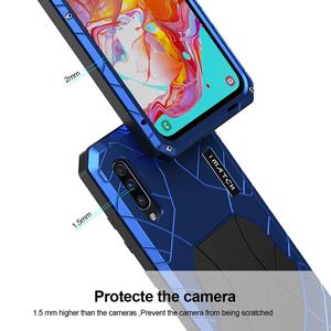 Image 4 - Telefoon Geval Voor Samsung Galaxy A70 Hard Aluminium Metal Gehard Glas Screen Protector Cover Zware Bescherming Silicon Cover