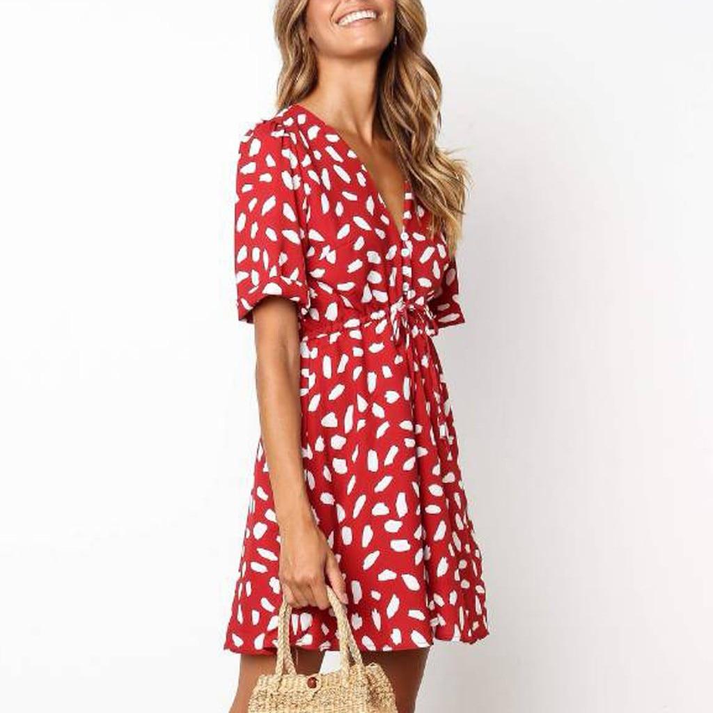 HTB1Hp1LOAvoK1RjSZFwq6AiCFXaK Short Sleeve dress woman basic Printing V-neck casual dress flare Button Summer Dress Princess Dress vestidos #G6