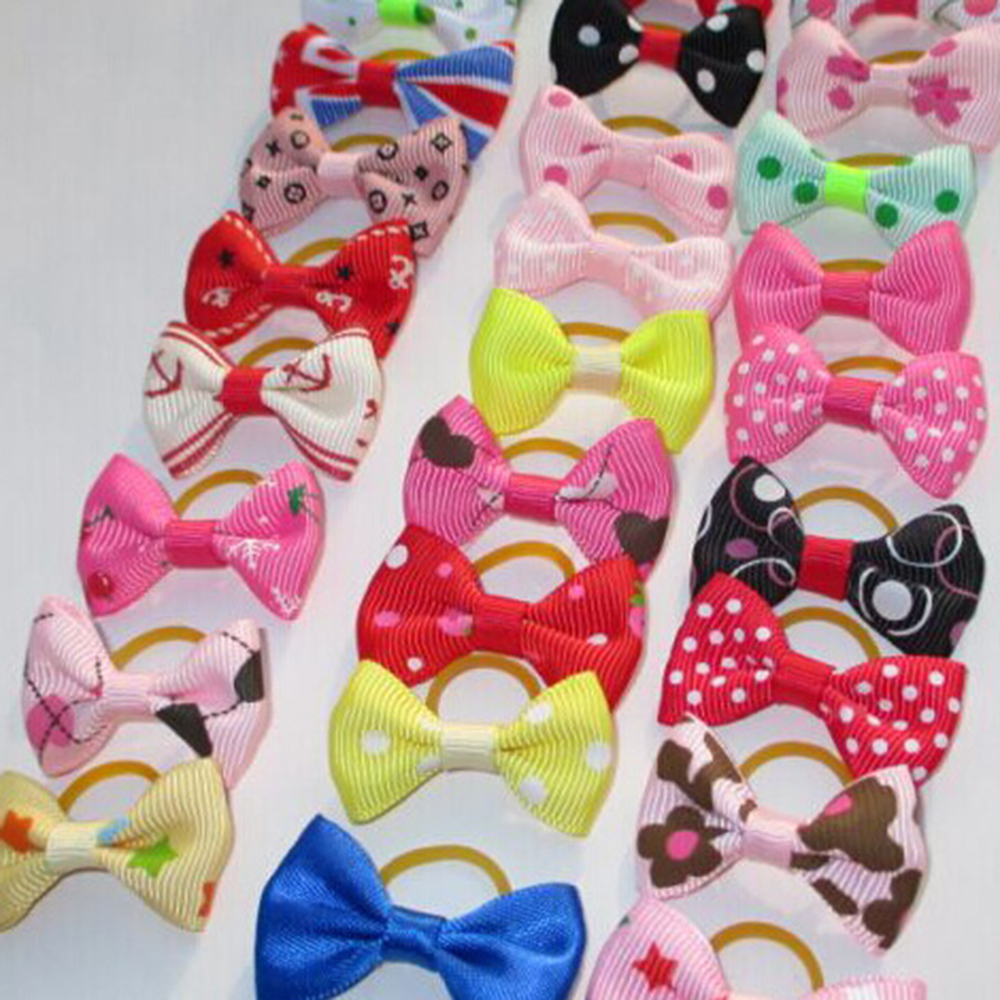 20Pcs Mixed Hair Bows Rubber Bands Candy colors Fashion Cute Dog Puppy Cat Kitten Pet Toy Kid Bow Tie Necktie Clothes decoration (1)