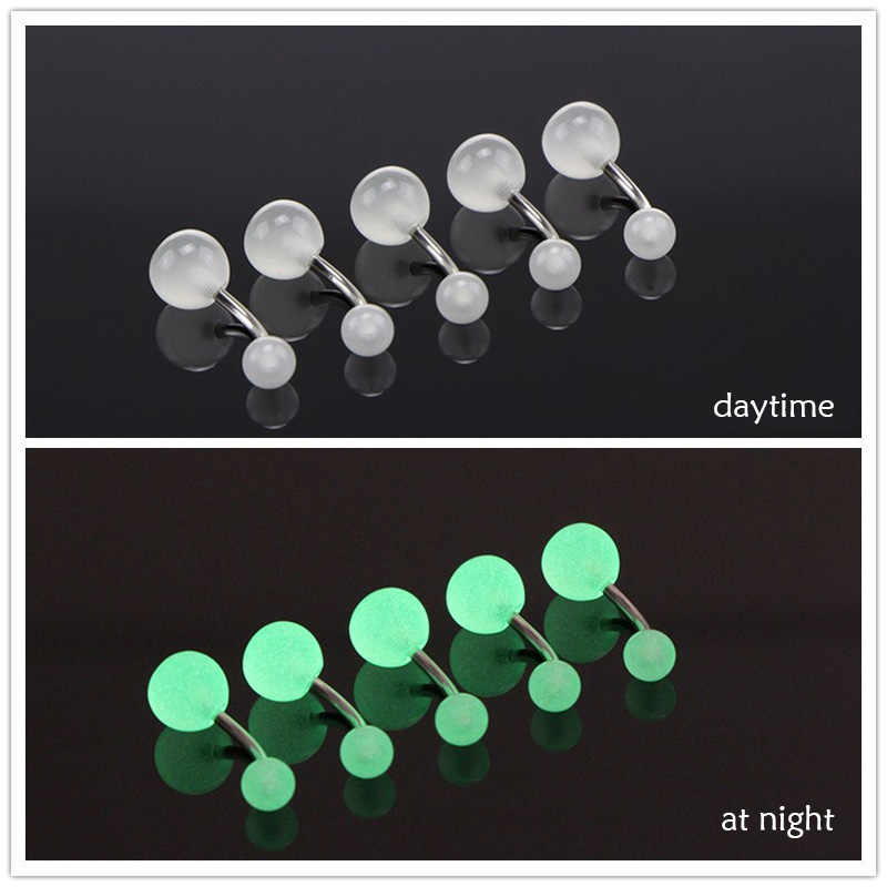 1 Piece Europe And The United States 7 Color Luminous Belly Button Nail Acrylic Belly Button Stainless Steel Belly Button
