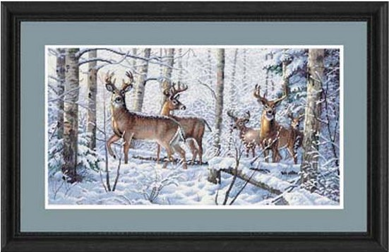 Top Quality Beautiful Counted Cross Stitch Kit Woodland Winter Deer Animal In Snow Mountain Dim 35130