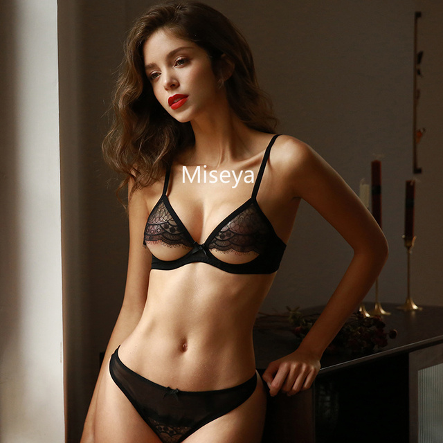 Sexy Underwear Women Embroidery Lace Push Up Underwire Ultra Thin Bra Temptation Sexy See Through Bra and Panty Sets