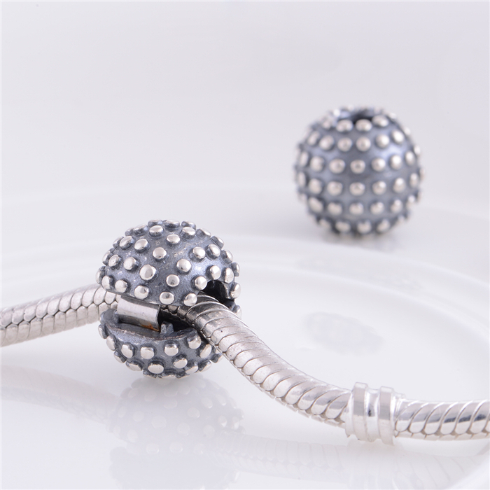 S291 925 Sterling Silver Clip And Clasp Charms Round Silver Charm Bead Fit Original Pandora Charms Bracelet jewelry
