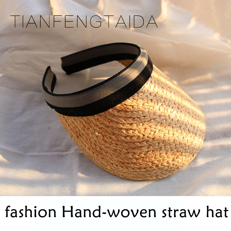 Women athlete sun hat summer new fashion wheat Panama sun hat beach hat ribbon bow knot naval style straw hat baseball cap