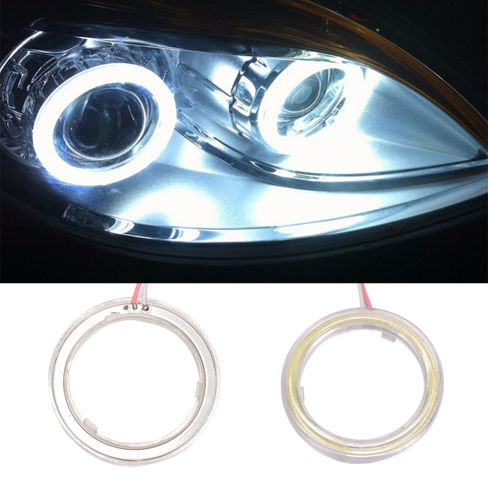 2PCS 60mm  COB Chips  Angel Eye Auto Halo Rings  Headlight  Cars Angel Eyes Motorcycle Car DRL LED 12V 1pair white 80mm cob car led angel eyes drl daytime running headlight halo ring driving lamp auto blub with cover 63 chips 12v