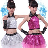 Children Sequin Jazz Dance Modern Dance Costume Fashion Latin Waltz Dancing Dress Stage Show Dresses