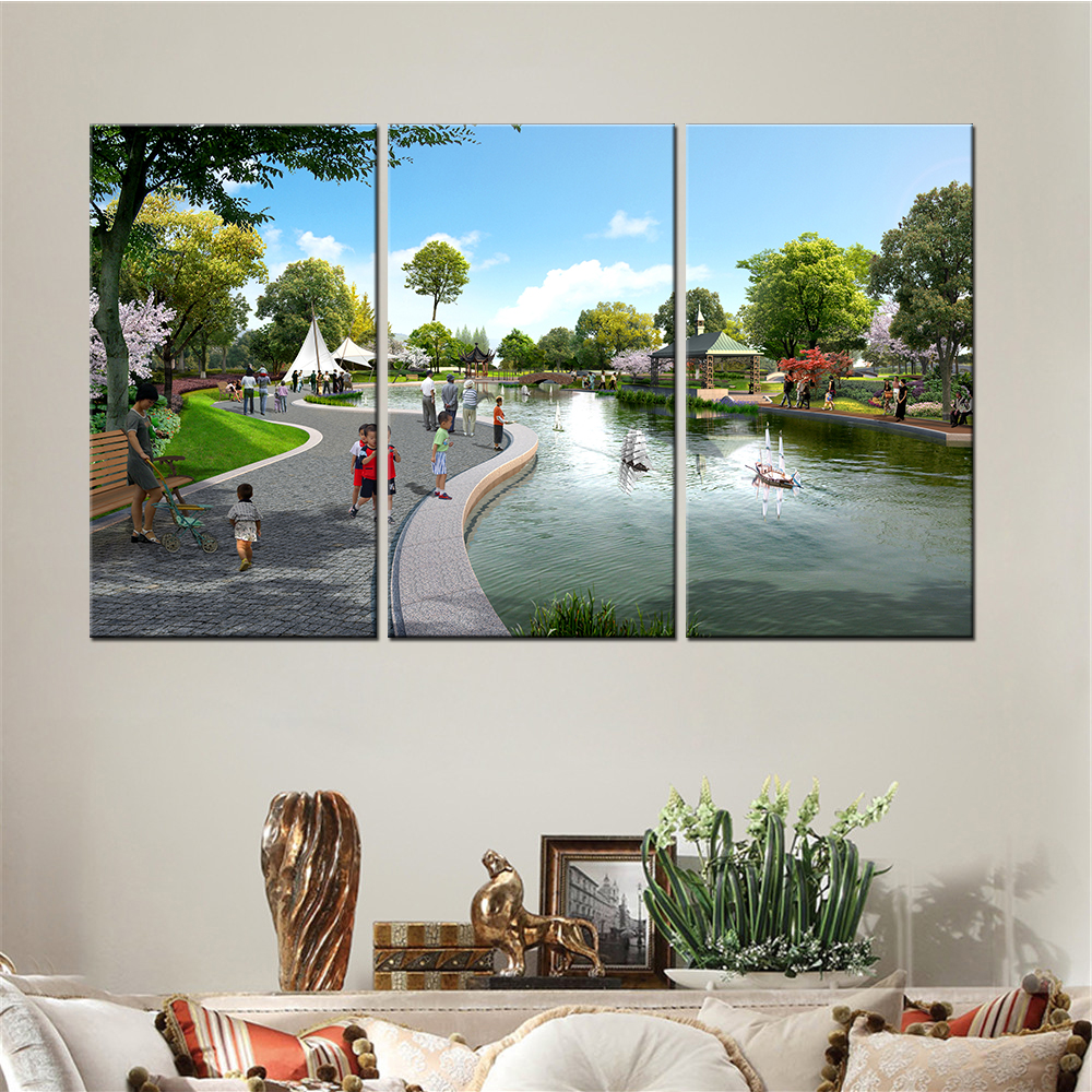 no frame pieces drop shipping cuadros decoracion modernos landscape park nordic poster wall pictures for