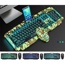 Mechanical Keyboard RGB Backlit USB Wired Gaming Keyboard Imitation Mechanical Feel 104 Keys Waterproof Computer Game Keyboards все цены