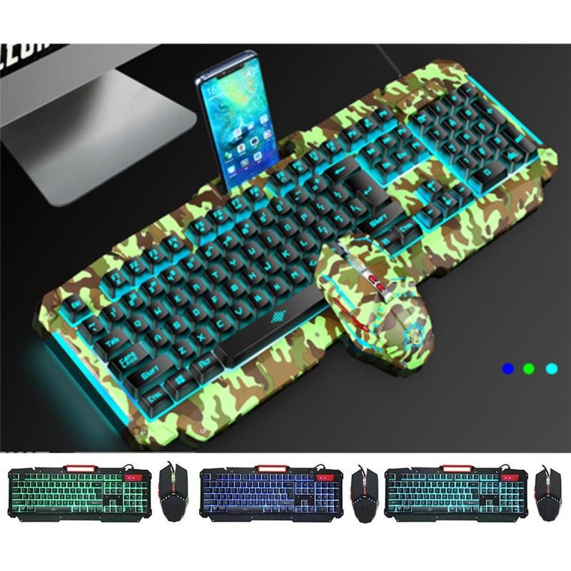 Механическая клавиатура с RGB подсветкой USB Проводная игровая клавиатура имитация механического ощущения 104 клавиш водонепроницаемые компьютерные игровые клавиатуры