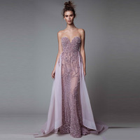 Lebanon Beaded Mermaid Evening Dresses With Detachable Train Sexy Backless Long Evening Gowns Sweetheart Beach Prom