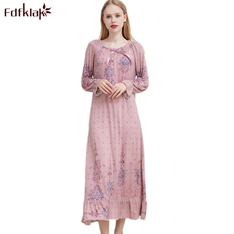 c090c2a34 Fdfklak M-XXL Plus Size sexy sleepwear primavera outono noite vestido  camisola de dormir vestido