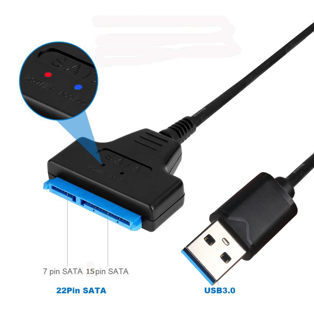 Ingelon USB Adapter Cable SSD Sata To Usb 3.0 Up To 6 Gbps Support 2.5 Inches 250mm External SSD HDD Hard Drive 22 Pin Sata III
