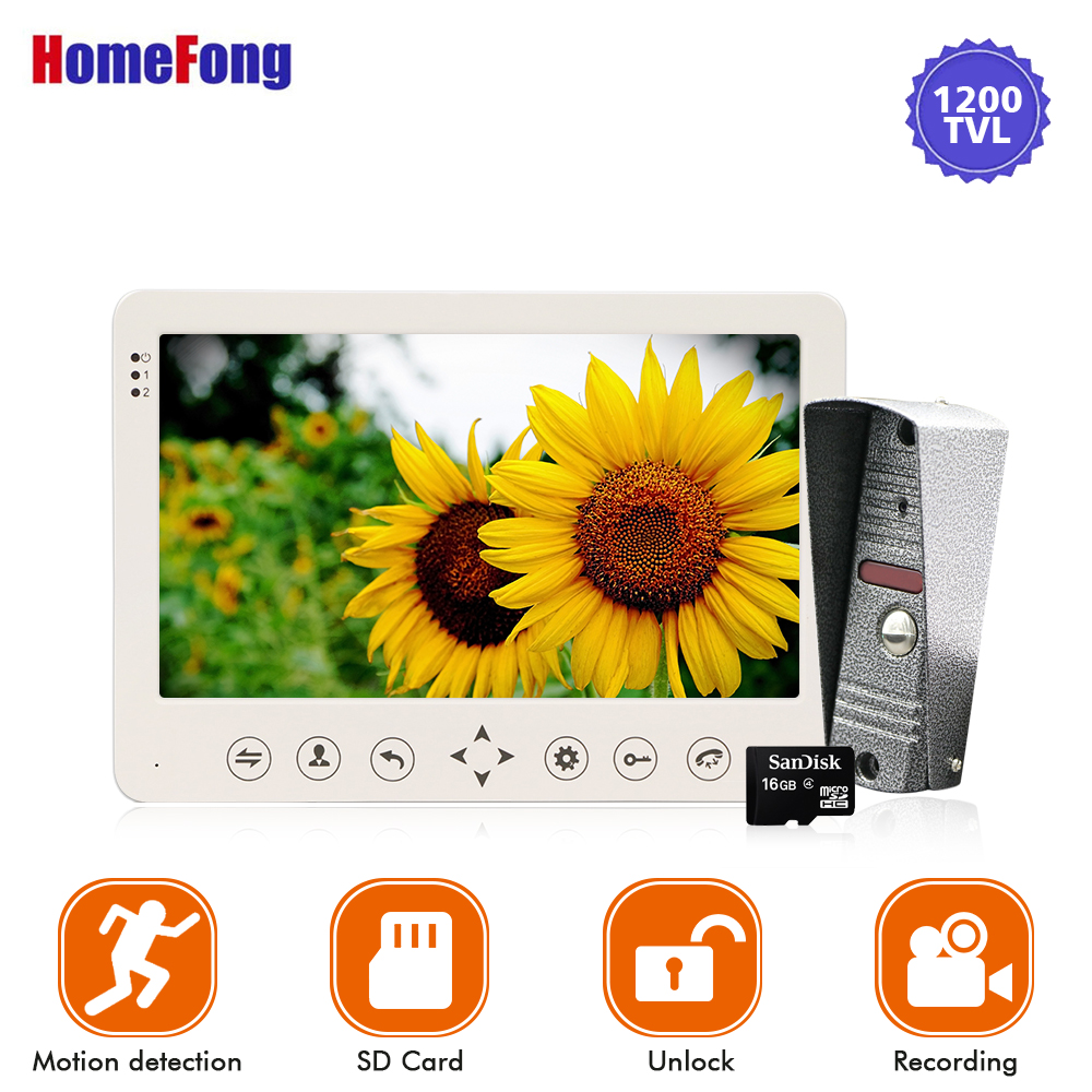 Homefong 7 inch Video Doorbell Intercom Door Phone System Touch Button 1200TVL Recording Motion Alarm SD