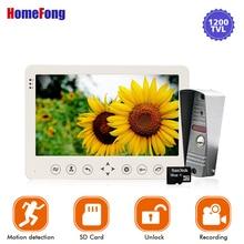 Homefong videoportero de 7 pulgadas con sistema de teléfono de puerta, botón táctil, 1200TVL, alarma de movimiento, tarjeta SD, soporte