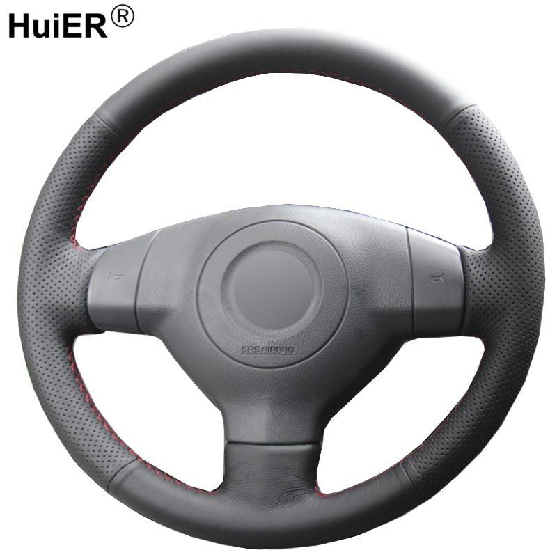 HuiER Hand Sewing Car Steering Wheel Cover Black Leather For Suzuki SX4 Alto Old Swift Opel Agila Steering-wheel Auto Accessorie