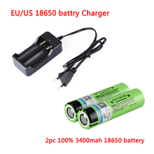 цена на EU/US 18650 charger dual charge dual-slot charger + 2pc Flat head 100% Original NCR18650B 3.7V 3400mAh 18650 battery