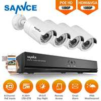 SANNCE 8CH 1080P POE Network Video Security System HDMI NVR With 4PCS Outdoor Weatherproof Smart IR White Cameras WIFI CCTV Kit