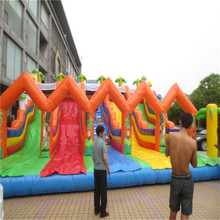 attractive inflatable trampoline bouncers inflatable slide playground YLW-184