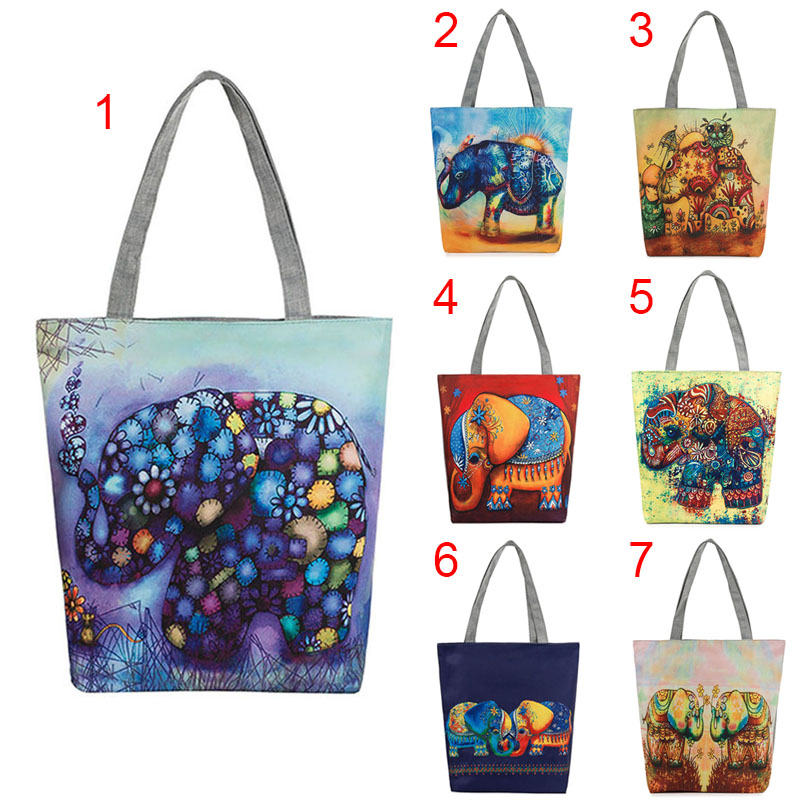 Women Elephant Printed Canvas Tote Casual Beach Bags Single Shoulder Bags Traveling Shopping Handbag BS88 цены онлайн
