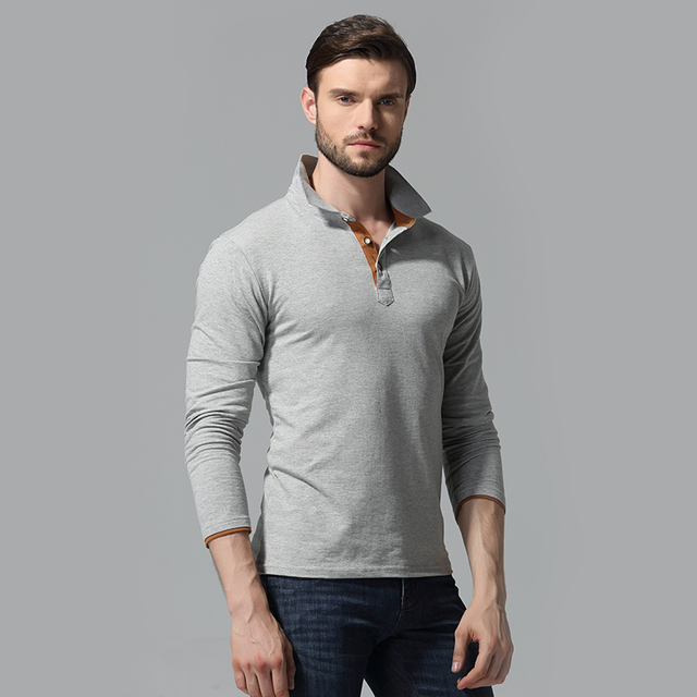 Brand New Men's Fashion Winter Solid Polo Shirt Full Sleeve Slim Fit Casual Cotton Polos Plus Size M-XXXL