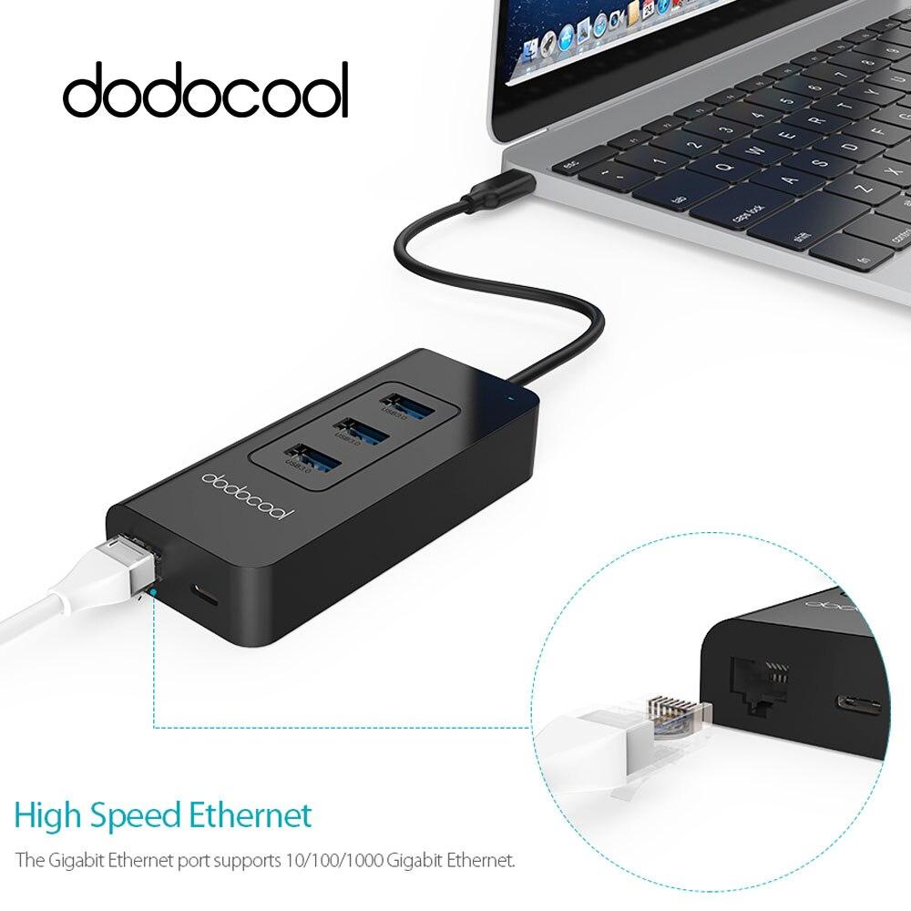 цена на dodocool USB-C 3.1 to 3 Port USB 3.0 HUB 10/100/1000 Mbps RJ45 Gigabit Ethernet Wired Network Card LAN Adapter For Windows Mac