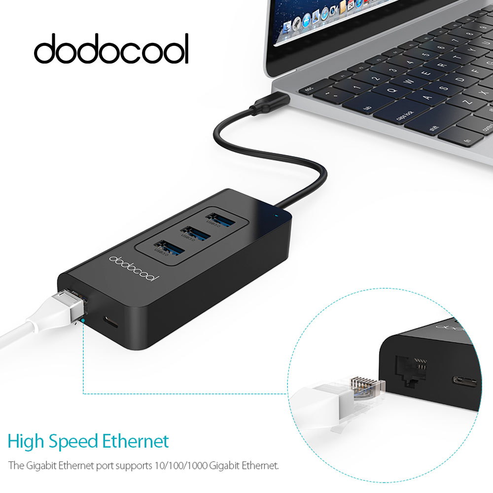 dodocool <font><b>USB</b></font>-C 3.1 <font><b>to</b></font> 3 Port <font><b>USB</b></font> 3.0 HUB 10/100/<font><b>1000</b></font> Mbps <font><b>RJ45</b></font> Gigabit <font><b>Ethernet</b></font> Wired Network Card <font><b>LAN</b></font> Adapter For Windows Mac image