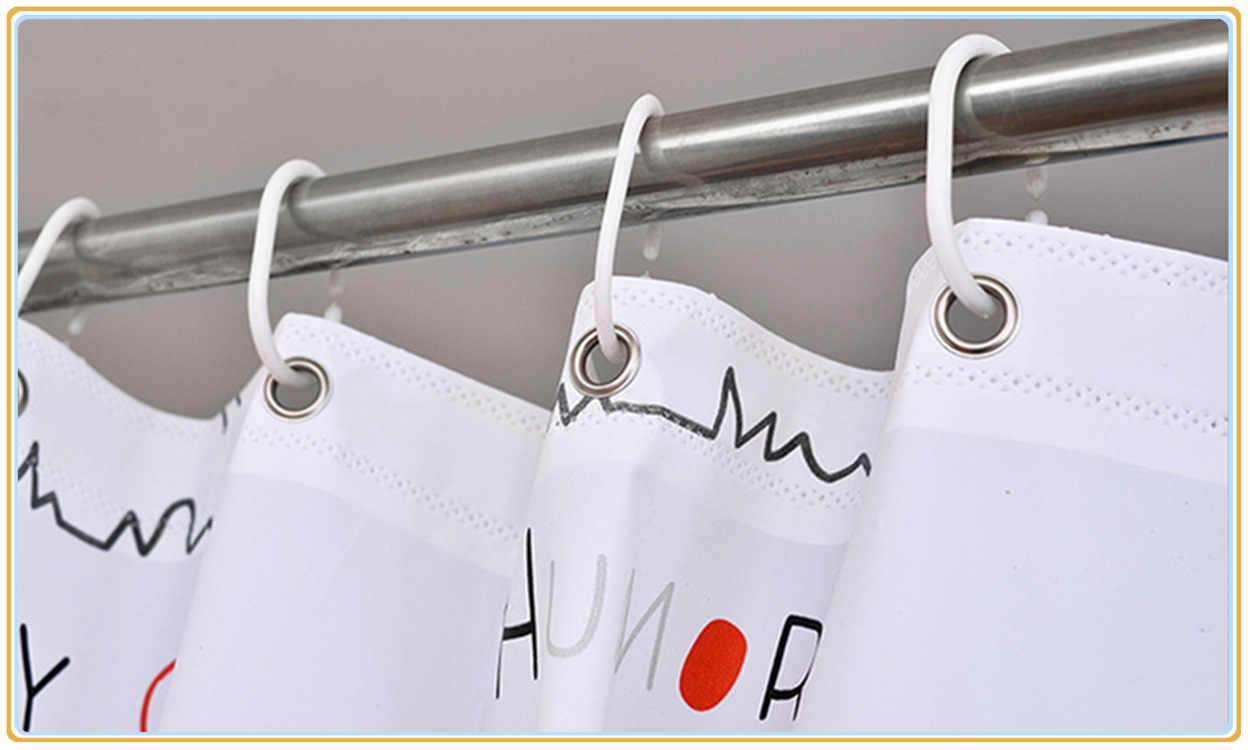 Deovo Kartun Kucing PEVA Shower Curtain Lingkungan Anticorrosion Tebal dengan 12 Kait Hook Putih Tidak Ada Meninju Shower Tirai