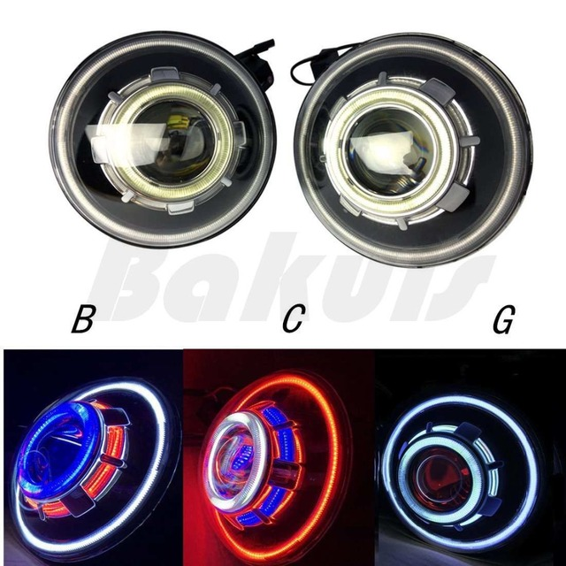 For HummerH1 7inch LED Starry Headlights with Devil Demon Halo Angel Eye for Jeep Wrangler 97-16 CJ