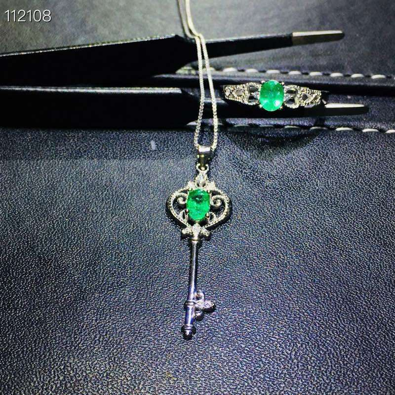 Belle évidement clé couronne S925 argent naturel vert émeraude gemme anneau pendentif naturel pierre gemme bijoux ensemble femme fête cadeau - 1