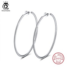 ORSA JEWELS 100% 925 Sterling Silver Hoop Earrings For Women Large Circle 49mm 60mm Round Earings Female Party Jewelry OSE79