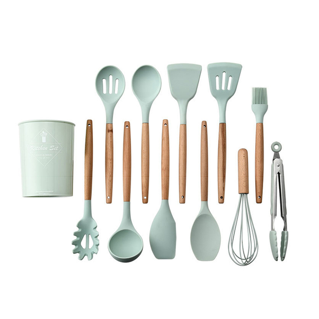 Eco-Friendly Silicone and Wood Cooking Tools Set