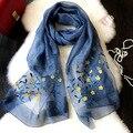 La primavera y El Otoño de las mujeres bordadas bordado salvaje párrafo largo bufandas bufanda de seda de la Señora