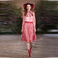 European runway two piece set elegant bow long sleeve dot printed chiffon blouses+ mesh embroidery 2 piece set women