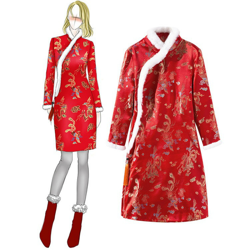 Femmes chinoises imprimer Phoenix automne hiver Tang Qipao Vintage lapin cheveux col Satin Robe Cheongsam femmes Robe grande taille Robe
