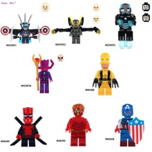 Single Captain America Yellow Jacket Figures Iron Man Galactus War Machine Deadpool The Flash building block toys for children(China)