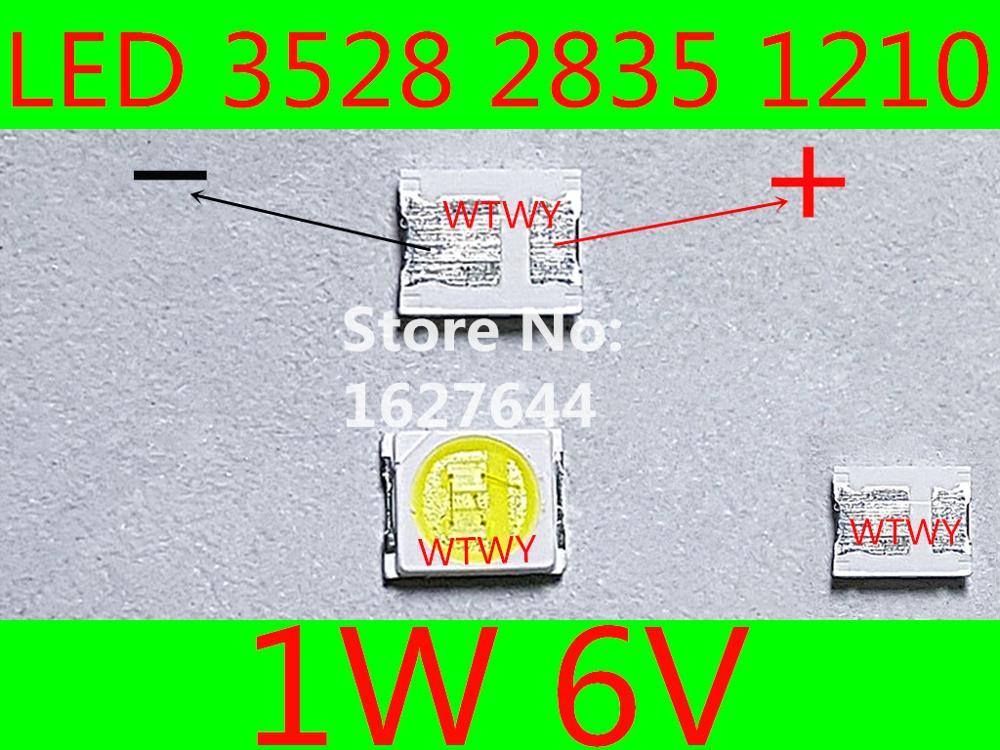 100 Stks Jufei Led 3528 2835 1210 Led Tv Backlight High Power 1 W 6 V Led Backlight Koel Wit Voor Led Lcd Tv Backlight Toepassing